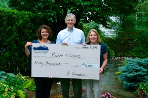 The Westfield Foundation presents representatives from Roots & Wings a 'check' for $40,000.  Pictured (l to r): Kim Spangenberg, Executive Director of Roots & Wings, Joe Masterson, Union County Leadership Council member and R&W spokesman and Elizabeth Chance, Executive Director of the Westfield Foundation.